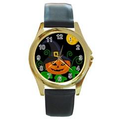 Halloween witch pumpkin Round Gold Metal Watch