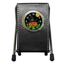 Halloween witch pumpkin Pen Holder Desk Clocks