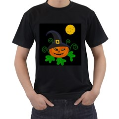 Halloween witch pumpkin Men s T-Shirt (Black) (Two Sided)