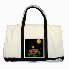 Halloween witch pumpkin Two Tone Tote Bag