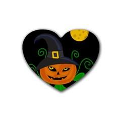 Halloween witch pumpkin Heart Coaster (4 pack)