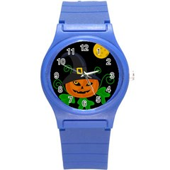 Halloween witch pumpkin Round Plastic Sport Watch (S)