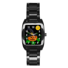 Halloween witch pumpkin Stainless Steel Barrel Watch