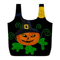 Halloween witch pumpkin Full Print Recycle Bags (L)