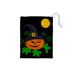 Halloween witch pumpkin Drawstring Pouches (Small)