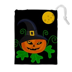 Halloween witch pumpkin Drawstring Pouches (Extra Large)