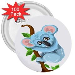 Koala 3  Buttons (100 pack)