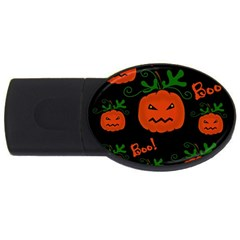 Halloween pumpkin pattern USB Flash Drive Oval (1 GB)