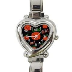 Halloween pumpkin pattern Heart Italian Charm Watch