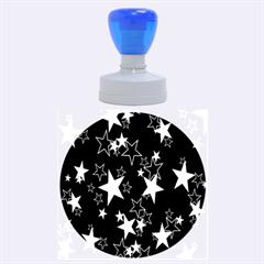 Star Black White Rubber Round Stamps (large)