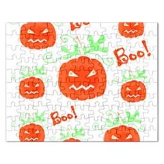 Halloween pumpkins pattern Rectangular Jigsaw Puzzl