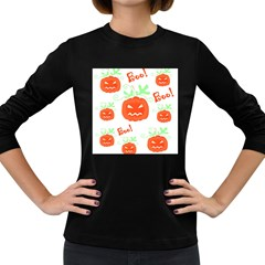 Halloween pumpkins pattern Women s Long Sleeve Dark T-Shirts