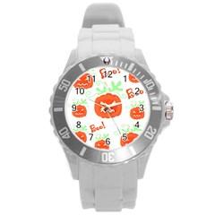 Halloween pumpkins pattern Round Plastic Sport Watch (L)