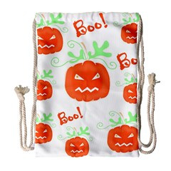 Halloween pumpkins pattern Drawstring Bag (Large)