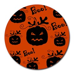 Halloween black pumpkins pattern Round Mousepads