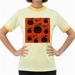 Halloween black pumpkins pattern Women s Fitted Ringer T-Shirts