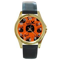 Halloween black pumpkins pattern Round Gold Metal Watch