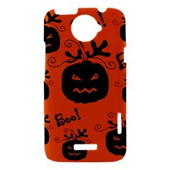 Halloween black pumpkins pattern HTC One X Hardshell Case