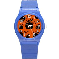 Halloween black pumpkins pattern Round Plastic Sport Watch (S)