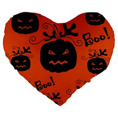 Halloween black pumpkins pattern Large 19  Premium Heart Shape Cushions