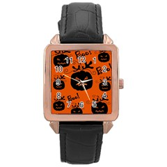 Halloween black pumpkins pattern Rose Gold Leather Watch