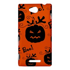 Halloween black pumpkins pattern Sony Xperia C (S39H)
