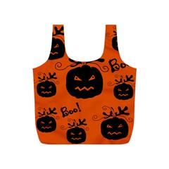 Halloween black pumpkins pattern Full Print Recycle Bags (S)