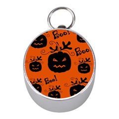 Halloween black pumpkins pattern Mini Silver Compasses