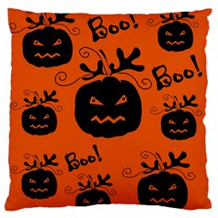 Halloween black pumpkins pattern Large Flano Cushion Case (One Side)