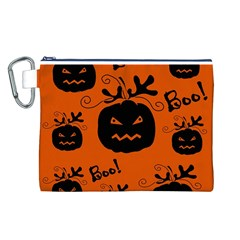 Halloween black pumpkins pattern Canvas Cosmetic Bag (L)