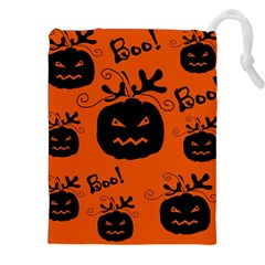 Halloween black pumpkins pattern Drawstring Pouches (XXL)