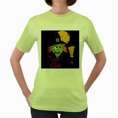Halloween witch Women s Green T-Shirt