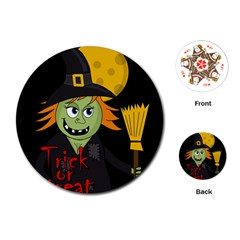 Halloween witch Playing Cards (Round)