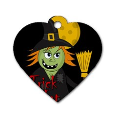 Halloween witch Dog Tag Heart (Two Sides)