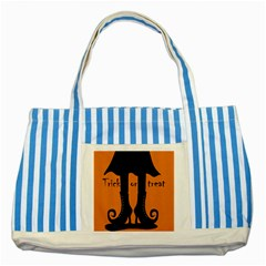 Halloween - witch boots Striped Blue Tote Bag