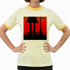 Halloween black witch Women s Fitted Ringer T-Shirts