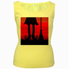 Halloween black witch Women s Yellow Tank Top