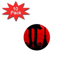 Halloween black witch 1  Mini Magnet (10 pack)