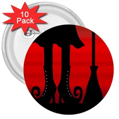 Halloween black witch 3  Buttons (10 pack)