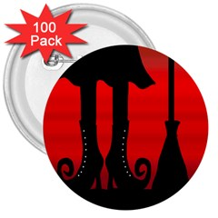 Halloween black witch 3  Buttons (100 pack)