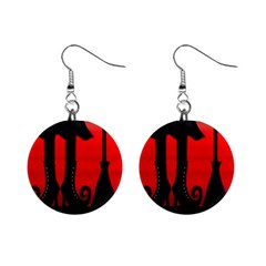 Halloween black witch Mini Button Earrings
