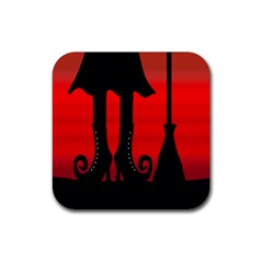 Halloween black witch Rubber Coaster (Square)
