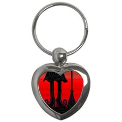 Halloween black witch Key Chains (Heart)