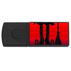 Halloween black witch USB Flash Drive Rectangular (1 GB)