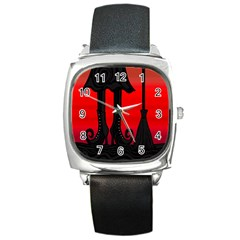 Halloween black witch Square Metal Watch