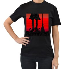 Halloween black witch Women s T-Shirt (Black) (Two Sided)