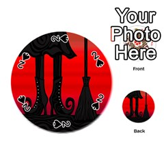 Halloween black witch Playing Cards 54 (Round)