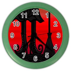 Halloween black witch Color Wall Clocks