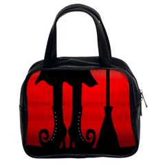 Halloween black witch Classic Handbags (2 Sides)
