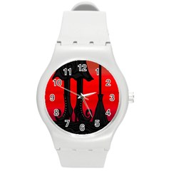Halloween black witch Round Plastic Sport Watch (M)